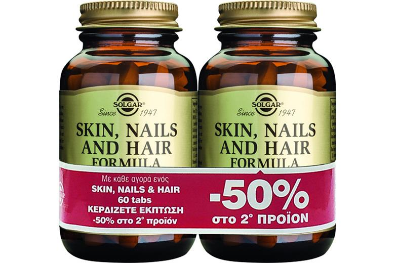 SOLGAR SKIN, NAILS AND HAIR FORMULA tabs 60s 1+1 Έκπτωση στο 2ο Προϊόν